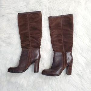 Nine West Emilio Brown Suede Knee High Heels Boots